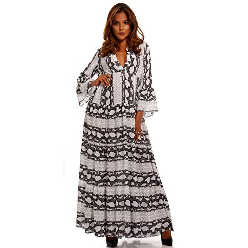 YC Fashion & Style Damen Boho Maxikleid Strandkleid Freizeit Sommer Party Kleid Hippie Kleid Plus Size Made in Italy (One Size, Grau)