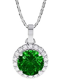 1.16ct Stardust Emerald and Diamond Halo Silver Pendant (WHITE GOLD)