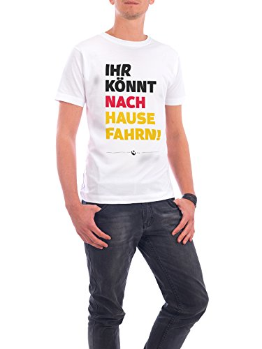 """Design T-Shirt Männer Continental Cotton """"Nach Hause Fahrn"""" - stylisches Shirt Typografie Sport / Fußball von Pia Kolle Weiß"""