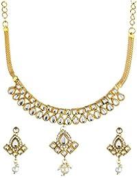 Zeneme Traditional Kundan & Pearls Choker Necklace Set Jewellery For Women & Girls