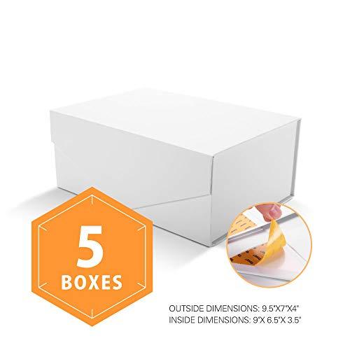 PACKHOME Geschenkboxen 24 x 17.5 x 10 cm, rechteckige Faltschachteln mit Magnetisch für Geschenkverpackungen (Mattes Weiß , 5 Schachtel) -
