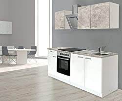Respekta Mounting Kitchen Kitchenette Fitted Kitchen 210 cm White Concrete Look, Incl. Soft Close Ceramic Cooktop