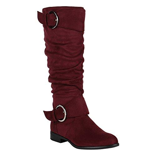 Klassische Stiefel Damen Nieten Schnallen Leder-Optik Schuhe 148896 Burgund Schnalle 38 | Flandell® (Schuhe Leder Burgund)