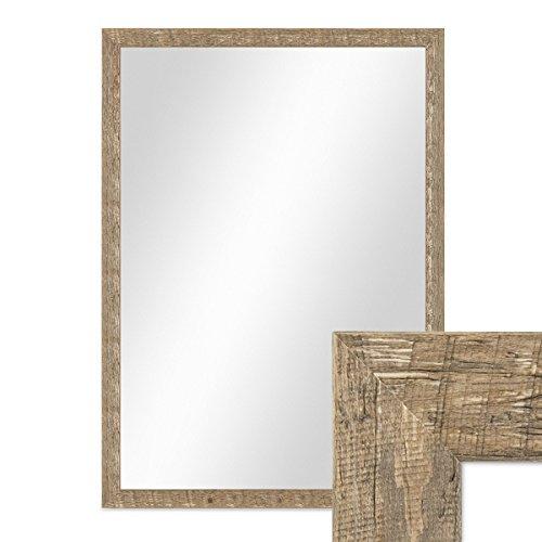 PHOTOLINI Wand-Spiegel 56x76 cm im Holzrahmen Strandhaus-Stil Eiche-Optik Rustikal/Spiegelfläche 50x70 cm
