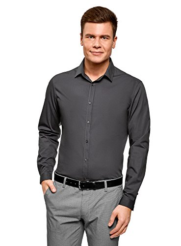 oodji Ultra Herren Tailliertes Hemd Basic Grau (2500N)