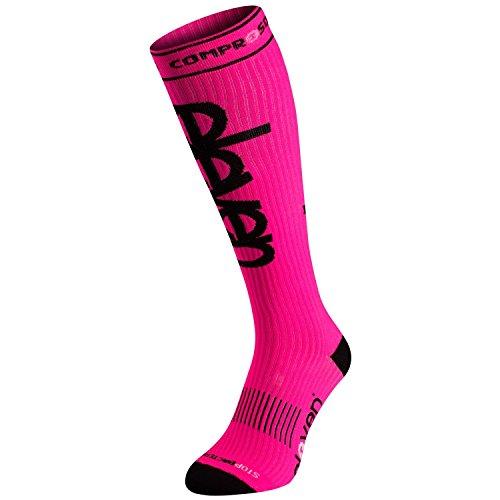 Eleven Kompressionsstrümpfe | Kompressionssocken | Laufsocken | Compression Socks | Strümpfe | Thrombosestrümpfe | Damen | Herren zum Sport, Laufen, Flug, Reise (neon pink, XL (EU 46-48))