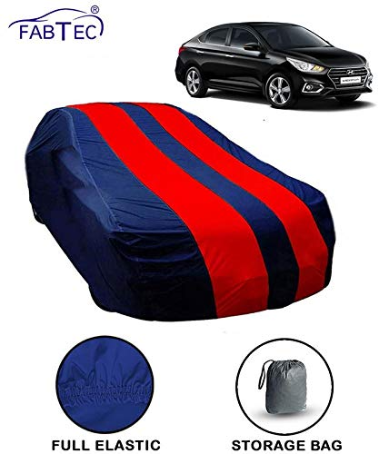 Fabtec Car Body Cover for Hyundai Verna New Red & Blue Colour with Storage Bag + Microfiber Glove Combo!