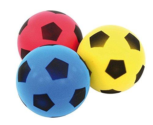 Betzold  Kinder-Softball, Soft-Bälle, Kinder-Ball aus Schaumstoff, Schaumstoffball, besonders weich und griffig, gelb, blau, rot, im Netz, unbeschichtet, Ø 12 cm,3 Stück