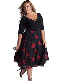 Vestidos Mujer Tallas Grandes,Modaworld ❤ Vestido de Fiesta Largo de Noche Floral para