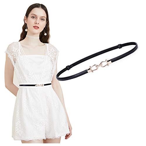 JasGood Damen Leder Slim Taillen Gürtel Einstellbar dünner Gürtel mit ineinandergreifender Schnalle für Kleid, Schwarz, unter 95cm Taillen (Schwarz-leder-kleid-gürtel)