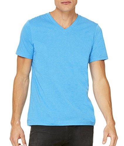 Bella Canvas-Maglietta da uomo con collo a V Blu Fluo
