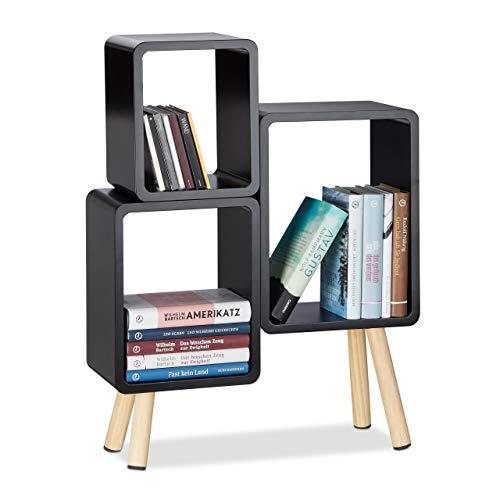 Relaxdays 3-teiliges Regalsystem, Würfelregal Holz, Cube Regal rund mit 4 Beinen, MDF, HBT: 69 x 52,5 x 18 cm, schwarz