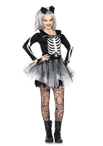 Leg Avenue J48067 - Junior Sassy Skelett Kostüm Set, Größe M/L, schwarz/weiß