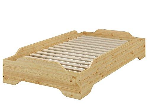 Erst-Holz® Stapelbett, Holzbett, Jugend Bett, Designer Bett 90x200 Massivholz Kiefer mit Rollrost 60.56-09 -