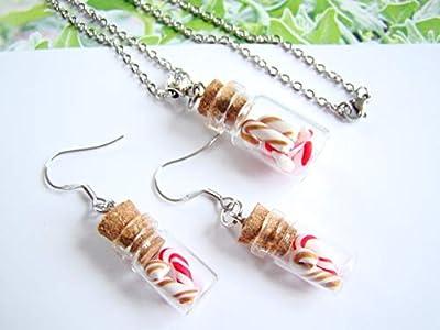 coffret cadeau femme enfant set de noel collier et boucle oreille sucre d'orge bonbon fiole pate fimo