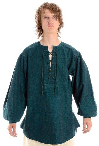 HEMAD Mittelalter Hemd Schnürhemd Baumwollhemd/Leinenstruktur grün L
