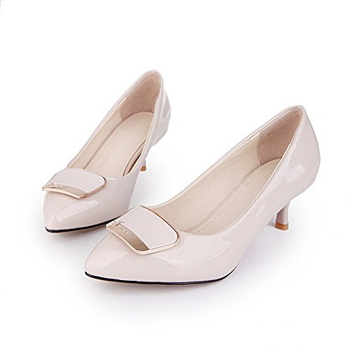 AllhqFashion Femme Tire à Talon Correct Pu Cuir Couleur Unie Pointu Chaussures Légeres Abricot