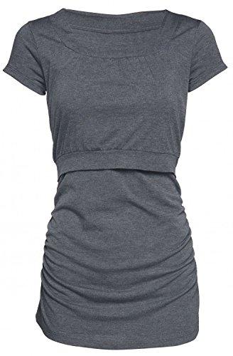 Happy Mama. Femme T-Shirt de Maternité Allaitement Double Couches Col Rond. 136p Graphite Mélange