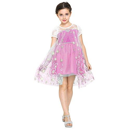 Katara 1698 Disney Inspiriertes Prinzessinen-Frühlings-Kleid für Mädchen ALS ELSA, Anna, Cinderella, Mia and Me Kinder-Kostüm für Karneval, Fasching, Fastnacht, Halloween, Partys