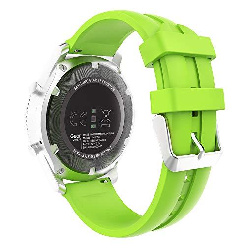 MoKo Armband Passend für Samsung Galaxy Watch 46mm/Galaxy Gear S3 Classic/Frontier/Moto 360 2nd Gen 46mm, Silikon Replacement Uhrenarmband Sportarmband band Erstatzband mit Schließe - Leuchtendes Grün