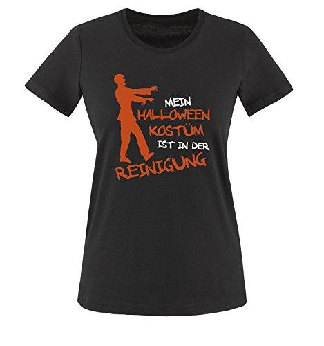 MEIN HALLOWEEN KOSTM IST IN DER REINIGUNG ZOMBIE - Damen T-Shirt Schwarz / Weiss-Orange Gr. XS Schwarz / Weiss-Orange (Meister Halloween Der Schule)