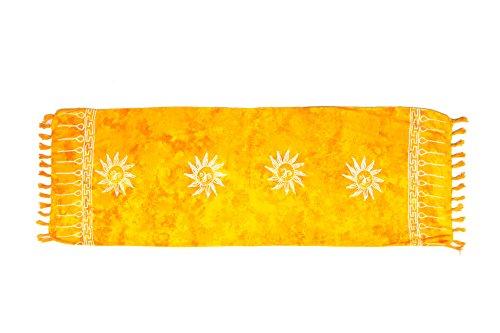 MANUMAR Damen Sarong Blickdicht als Mini-Rock (155x55cm) | Kinder Pareo Strandtuch mit Schnalle | Leichtes Wickeltuch in gelb mit Sonnen-Motiv mit Fransen/Quasten für Kinder | Bikini | Bali