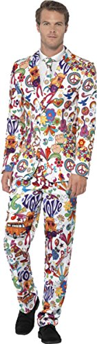 Herren Erwachsene Fancy Dress Halloween Party Groovy Stand Out Suit Outfit