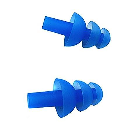 Bouchons d'oreille en silicone nageurs–5paires (10) souple et bouchons d'oreilles pour la natation ou de couchage avec oreille Étui - bleu