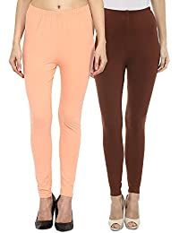 Sakhi Sang Leggings Pack of 2 : Peach & Chocolate Brown