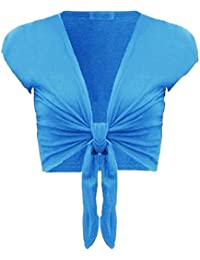 Damen trendy tie up cap sleeves Frauen Bolero Mädchen wickeln oben Strickjacke 36-42