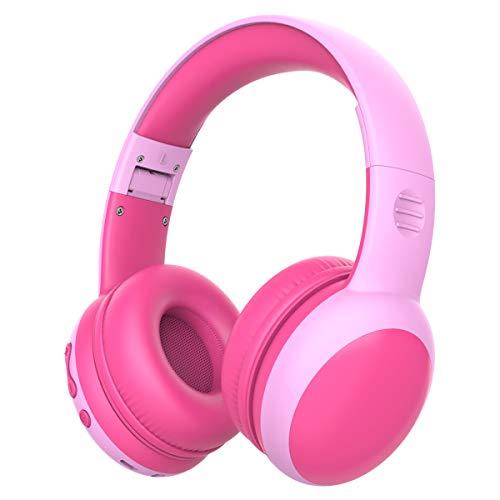 gorsun Kopfhörer für Kinder, Bluetooth Kinderkopfhörer mit 85 dB Lautstärkebegrenzung, Leichte Kinder Kopfhörer mit anpassbarer Kopfband - Rosa