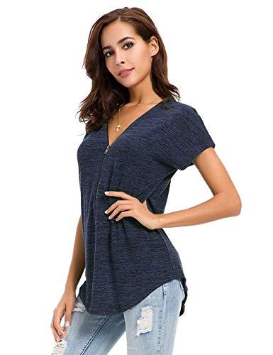 Avacoo Damen T Shirt Zipper V-Ausschnitt Kurzarm Tops Tunika Casual T Shirts Bluse mit Reißverschluss Navy XL