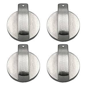 Preisvergleich Produktbild Gosear 4 Stk Metall 6mm Universal Silber Gas Herd Steuer Knöpfe Adapter Ofen Schalter Kochen Fläche Steuer Sperren