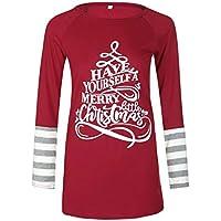 Minzhi Frauen Christmas Letter-Druck-Patchwork-T-Shirt Long Sleeve Tees Herbst Top