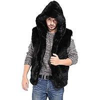 RWINDG Herren Kunstpelz Weste Jacke ärmellose Winter Body Skins Suits mit Kapuze Reißverschluss Taschen Casual Warmer Mantel mit Kapuze Weste Gilet