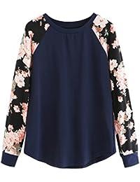ROMWE Damen Baumwolle Leicht Pullover mit Blumenmuster Kontrastfarbig Frühling Herbst Langarmshirt