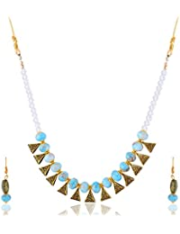 URBAN FASHION PRO Sky Blue And Gold Alloy Strand Necklace Set For Women And Girls (1)