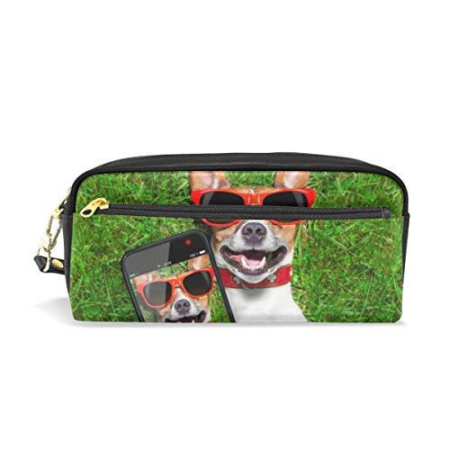 Schule Bleistift Tasche Selfie Hund für Jungen Kinder Teens Stifthalter Kosmetik Make-up Tasche Schreibwaren Beutel Tasche mit großer Kapazität