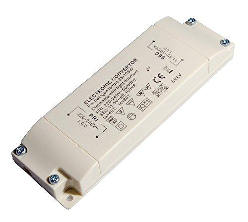 Preisvergleich Produktbild Transmedia Halogen-Trafo 230/12V/35-105W, Überlastungsschutz, Temperatursicherung, nicht dimmbar, 130 x 43 x 20 mm Slim, LT2-2L