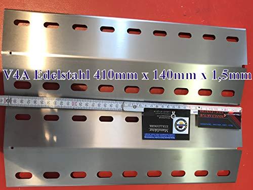 HZ1BBQde 2 STK. Premium V4A 1,5mm Stark Flammenverteiler Edelstahl-Manufaktur Gasgrill Ersatz-Set/Flammenblech/Grillblech/Brennerabdeckung/Flammenabdeckung/Gasgrill (2-410-140-1,5-V4A)