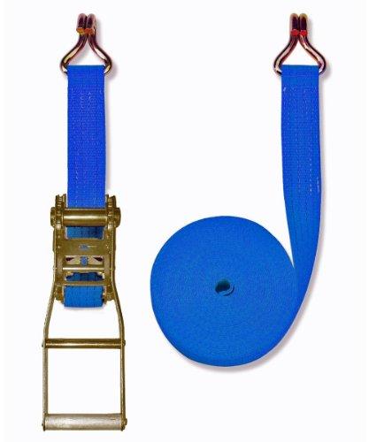 Braun Spanngurt 4000 daN, zweiteilig, Farbe blau, 10 m Länge, 50 mm Bandbreite, mit Langhebel-Ratsche und Spitzhaken
