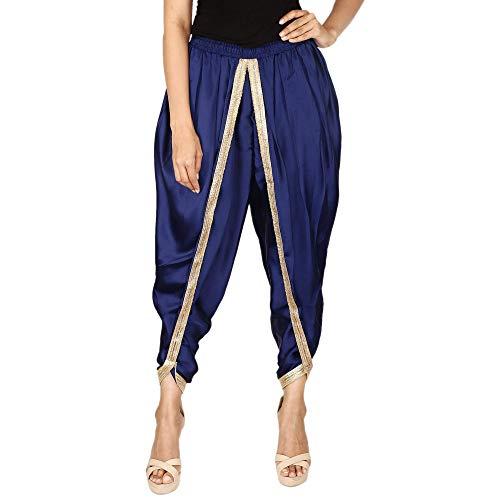 Marineblaue Farbe Dhoti-Hose aus Satin-Seide, Patiala Dhoti Salwar, Dhoti-Hose für Frauen, Mädchen -
