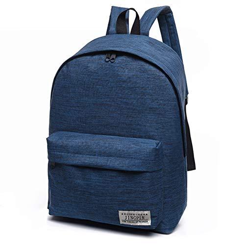 Wodend Rucksack für Jungen und Mädchen, Segeltuch, einfacher Stil, Schultasche blau