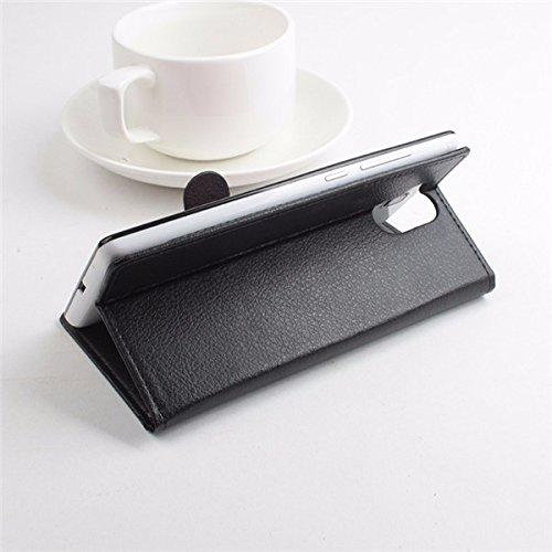 LingMao Easbuy Pu Leder Kunstleder Flip Cove Pu Leder Tasche Hülle Case Für Elephone P7000 Smartphone (Schwarz)