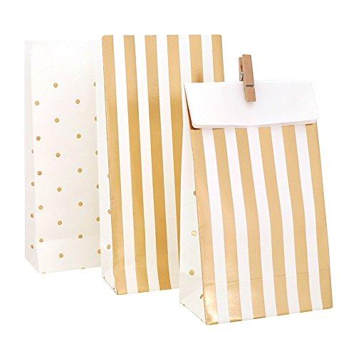 10 Papier-Gastgeschenktüten in Weiß mit Gold Glänzenden Streifen und Pünktchen