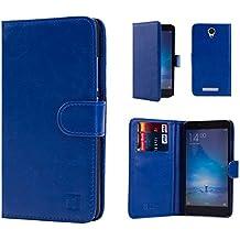 Xiaomi Redmi Note 2 Funda Carcasa Flip de Piel PU Tipo Libro Billetera con Tapa y Tarjetero de 32nd®, incluye protector de pantalla y lapiz optico- Azul