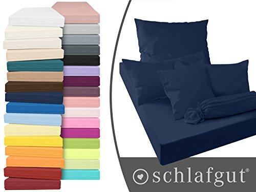 Serie basic von schlafgut aus 100% Baumwolle in 30 Uni-Farben +++ Mako-Jersey-Spannbetttuch +++ Mako-Jersey-Kissenbezug erhältlich in 3 Größen, marine, Kissenbezug 80 x 80 cm