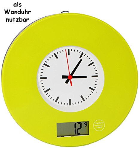 """Preisvergleich Produktbild 2 in 1: Küchenwaage & Küchenuhr - """" grün / Retro Design """" - Digitalwaage - 5 kg - Uhr analog - LCD Anzeige Digital - Glaswaage / Glas - auch als Wanduhr - elektronische Waage - Küchen Deko / Standwaage Hartglas - rund / Schallplatte - 50er 70er Jahre Vintage"""