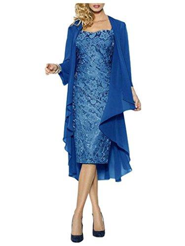 JAEDEN Damen Kurze Spitzenkleider mit Chiffon Jacke Herzform Mutter der Braut Kleider Abendkleid Blau