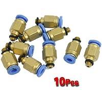 SODIAL (R) 10 pezzi 5 mm filetto maschio 4 mm di spinta in Joint Air Pneumatic connettore rapido montaggio
